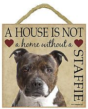 Staffordshire Bull Terrier Brindle. Beautiful plaque, hang it or stand it !