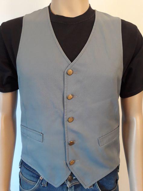 Vtg men's reversible vest dress metal buttons size small/medium