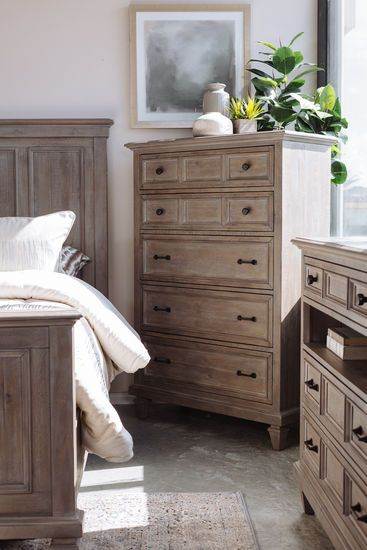 """58"""" Transitional Five-Drawer Chest in Brown   Painted bedroom"""