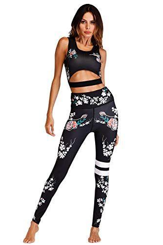 Gym Et Autres Activit/és Pantalon Fitness Costumes pour Yoga Femmes Tenue De Sport Surv/êtement Ensemble Mode Imprim/é Haute /Élasticit/é Sportswear Sport Soutien-Gorge Running Jogging