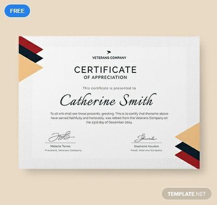 Free Retirement Certificate Of Appreciation Certificate Of