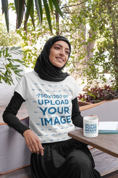 Download Placeit T Shirt Mockup Of A Woman Wearing A Hijab With An 11 Oz Mug In Her Hand Shirt Mockup Clothing Mockup Clothing Logo