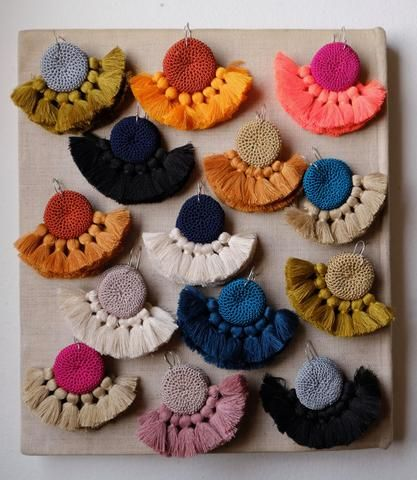 Crochet Disc Tassel Earrings - Fuchsia & Coral - Hamimi Design