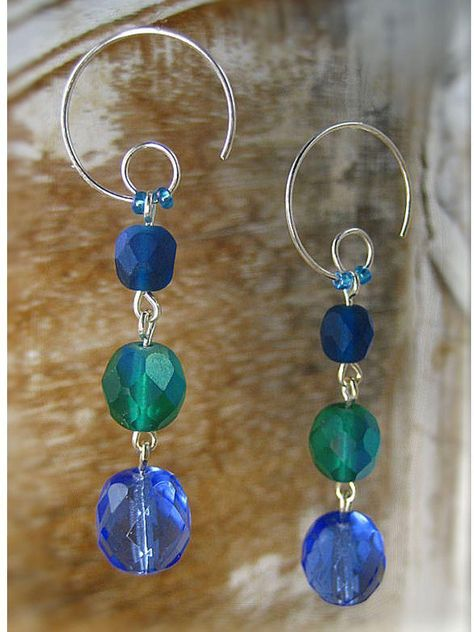 Earrings - Bohemian Rhapsody Collection - Orchard - Pool / 3 Beads