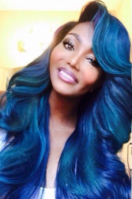 Mermaid Blue Green Sidebangs Curls Hair Flip Colored Weave