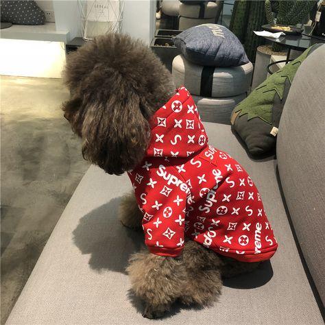 Supreme 犬服 ペット服 シュプリーム ブラント ドッグウェア ボックスロゴパーカー パロディ洋服 ペット服 犬 犬の洋服