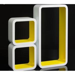 blanc de cube murales rangement et Set étagères 3 meuble g76Yfybv