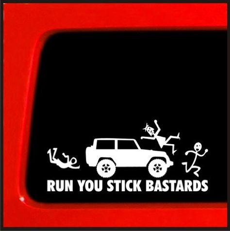 Stick Figure Family sticker for Jeep Decal Run you Stick Bast*rds funny truck sticker car decal bumper * White Sticker Connection