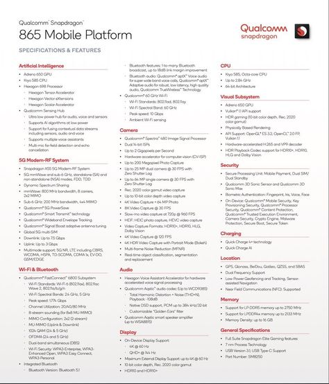 Qualcomm Snapdragon 865 Detailed Specifications