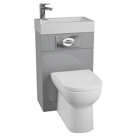 Metro 500 Gloss Grey Combined 2 In 1 Wash Basin Toilet