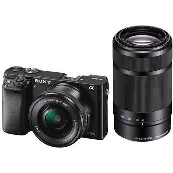 Sony Alpha A6000 Mirrorless Digital Camera With 16 50mm And 55 210mm Lenses Black Mirrorless Camera Digital Camera Digital Slr