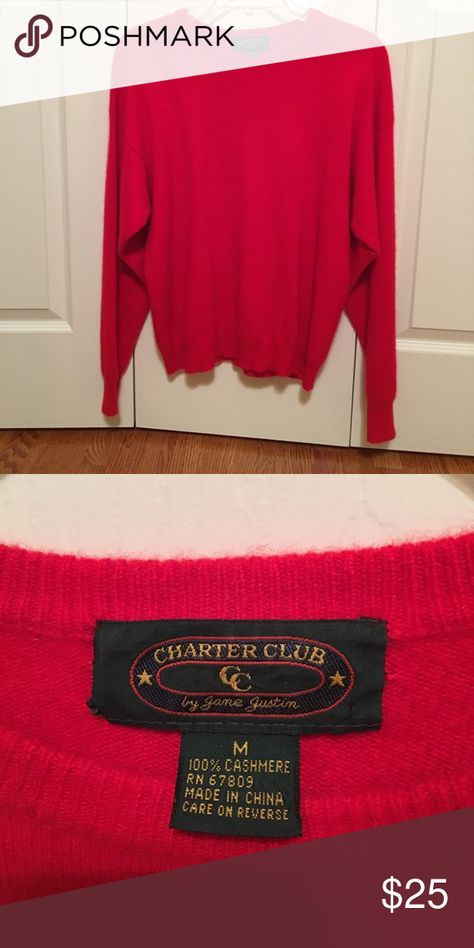Charter Club 100% Cashmere sweater size M Charter Club 100% Cashmere sweater  size M. Red color. Very good condition. Charter Club Sweaters Crew   Scoop  ... 8f6d9eb96