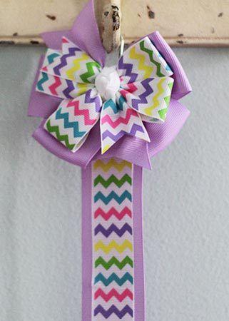 Ribbon Bow Holder - Pastel Chevron & Lavender