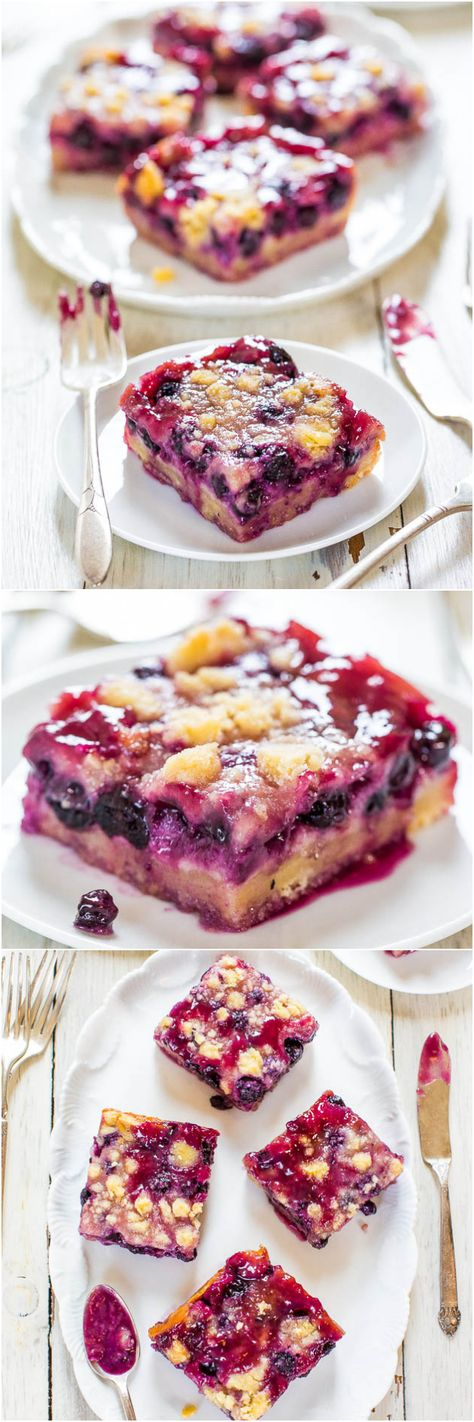 Blueberry Pie Bars - Super soft, easy bars with a creamy filling, streusel topping and abundance of juicy blueberries! Sooo darn good! @Averie Sunshine {Averie Cooks}