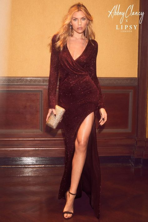 50% off authentic quality sold worldwide Womens Abbey Clancy x Lipsy Tall Glitter Wrap Maxi Dress - Red in ...