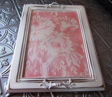 Serving Tray - from Upcycled Cabinet Door - Shabby Chic / Pink Lace | Ottomans Trays and Drawers & Serving Tray - from Upcycled Cabinet Door - Shabby Chic / Pink ... pezcame.com