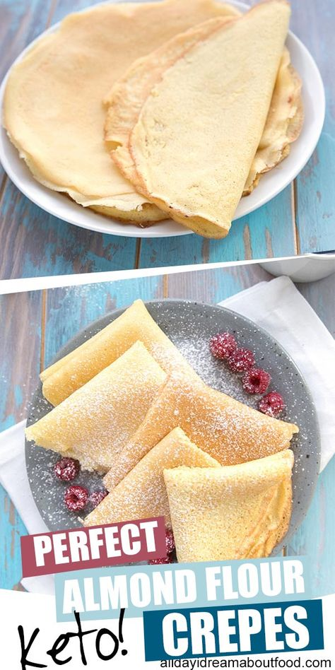 Enjoy your favorite brunch again with these amazing flexible keto crepes. Enjoy your favorite brunch again with these amazing flexible keto crepes. Made with almond flour and cream cheese, these delicious crepes stay soft an. Almond Flour Pancakes, Almond Flour Recipes, Keto Pancakes, Almond Flour Desserts, Keto Cream Cheese Pancakes, Almond Milk, Almond Crepes Recipe, Almond Flour Baking, Keto Desserts Cream Cheese