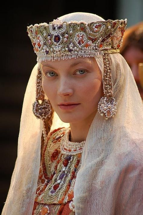 Costume reconstruction of a century Russian headdress, with kolty. Real pearls and gemstones.