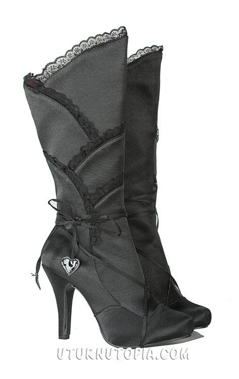 Black Satin Knee HIgh Boots /Gothic/Victorian/Steampunk Source by karinafokkema vintage