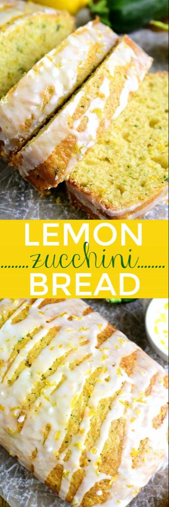 This Lemon Zucchini Bread combines two favorites in one delicious loaf of bread! Topped with a sweet lemony glaze its a great way to sneak in extra veggies and the BEST way to wake up! This Lemon Zucchini Bread combines two. Lemon Zucchini Bread, Zucchini Bread Recipes, Zucchini Bread Muffins, Lemon Loaf, Zucchini Cookies, Orange Zucchini Bread Recipe, Zuchinni Desserts, Courgette Bread, Breaded Zucchini