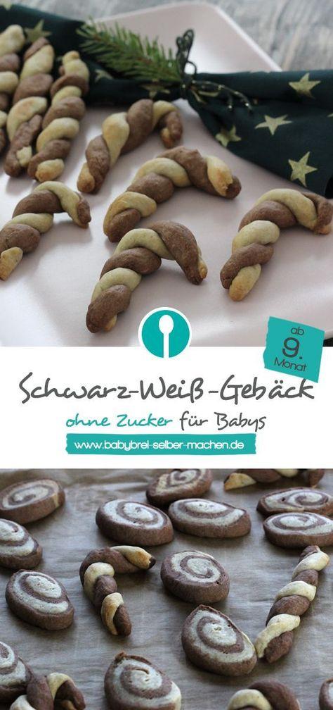 Schwarz-Weiss-Gebäck für Babys ohne Zucker