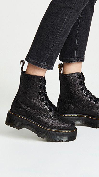 black glitter dm boots