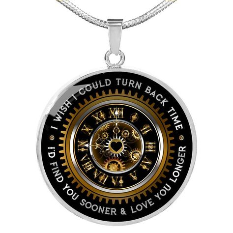 Engraveable Gold or Stainless Steel Luxury Necklace - Turn Back Time - Luxury Necklace (Silver) Yes