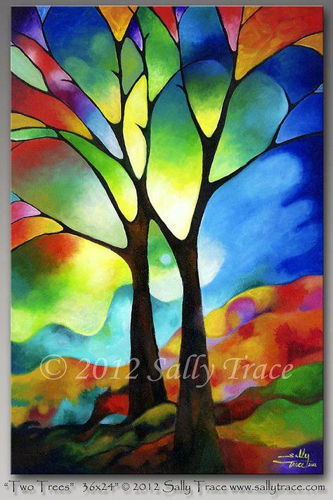 Schöne abstrakte Malerei von zwei Freunden in einer Landschaft mit einem Glasmalerei aussehen. Geometrische Elemente in der Komposition. Mit