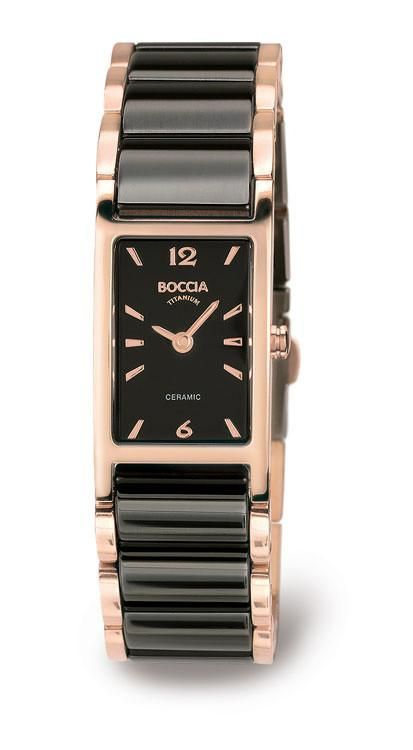 Boccia Titanium & Black Ceramic ladies watch, rectangular face, rose-gold tone markers, rose-gold tone titanium and black ceramic bracelet Swiss Quartz Move
