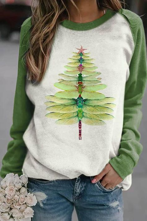 Gradient Green Dragonfly Christmas Tree Print Color-block Raglan Sleeves T-shirt Steampunk Accessoires, Do It Yourself Design, Thing 1, Tree Print, Neck Pattern, Sleeve Pattern, Green Blouse, Printed Sweatshirts, Women's Sweatshirts