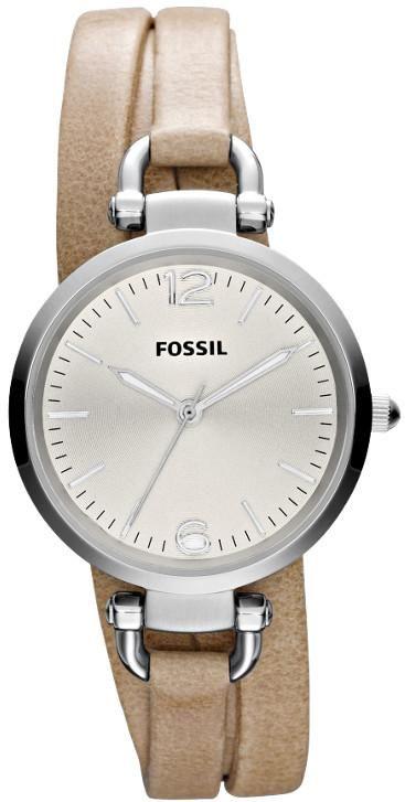 $88 Ladies Fossil Watches - Georgia Brown Triple Wrap Leather Ladies Watch