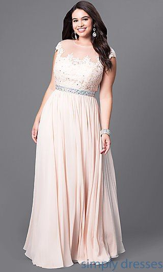 Long Plus-Size Formal Dress with Illusion-Lace Bodice in ...