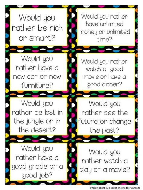 Would you rather...? ESL cards.