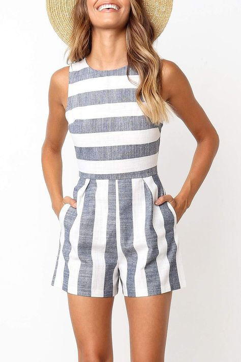 Balanla Casual Striped Blue Romper Colors) Balanla Casual Striped Blue Romper Colors),clothes Meet your new go-to for beach days, lunch on the boardwalk and summer pool parties! We love this little striped. Mode Outfits, Casual Outfits, Fashion Outfits, Ladies Fashion, Cute Rompers, Cute Summer Rompers, Jumpsuits And Rompers, Rompers Women, Rompers For Teens