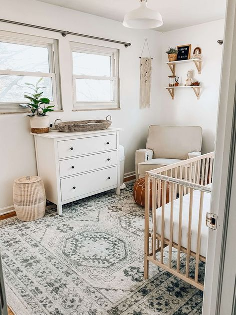 picture of neutral boho nursery with natural wood crib, white dresser and boho accents Ikea Crib, Ikea Nursery, Wood Nursery, Nursery Twins, Baby Nursery Decor, Baby Decor, Girl Decor, Calming Nursery, Ikea Baby Room