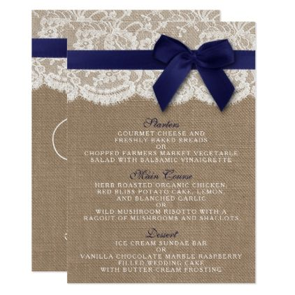 Navy Ribbon On Burlap Lace Wedding Menu Zazzle Com