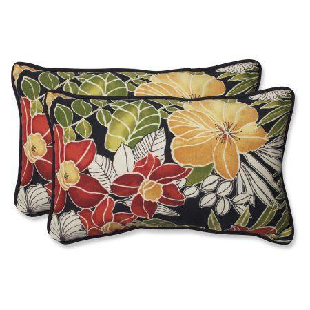 Pillow Perfect Outdoor Indoor Clemens Noir Rectangular Throw Pillow Set Of 2 Pillowset Throw Pillows Throw Pillow Sets Lumbar Throw Pillow