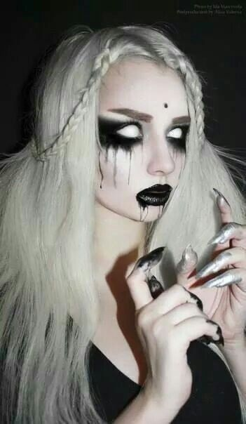 Are her eyes closedor are they all white contacts!? | halloween | Pinterest | Halloween makeup Eye and Makeup  sc 1 st  Pinterest & Are her eyes closedor are they all white contacts!? | halloween ...