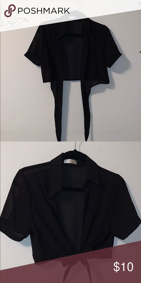Black Sheer Crop with Front Tie (Women's S) Black sheer collared crop top with adjustable cute tie in the front. Tops Blouses