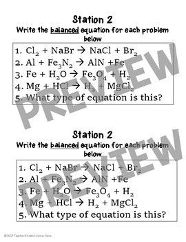 Balancing Chemical Equations Practice Stations Chemical Equation