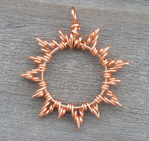 Copper Sun Pendant Prototype by ethorart can be glasses holder pendant Wire Pendant, Wire Wrapped Pendant, Wire Wrapped Jewelry, Pearl Pendant, Wire Jewelry Designs, Jewelry Patterns, Jewelry Crafts, Copper Jewelry, Beaded Jewelry