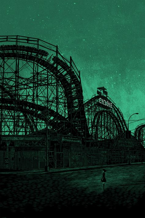 Illustration by Daniel Danger, I like the dark and somewhat creepy atmosphere created by the silhouette of the roller coaster in this image Abandoned Theme Parks, Abandoned Amusement Parks, Abandoned Places, Abandoned Mansions, Abandoned Buildings, Dark Green Aesthetic, Goth Aesthetic, Omg Posters, Gravure Illustration