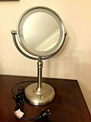 Double Side Makeup Cosmetic 10 X Magnifying Stand Mirror With Led Lights Vanity In 2020 Mirror With Led Lights Standing Mirror Makeup Mirror With Lights