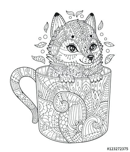 Fox Coloring Pages Vector Fox In Cup Adult Coloring Page With