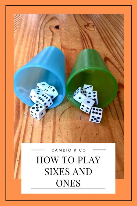 Sixes and Ones is a simple dice game that I learned at a bar in China. Family Card Games, Fun Card Games, Card Games For Kids, Games For Parties, Dice Games, Activity Games, Math Games, Articulation Activities, Therapy Activities
