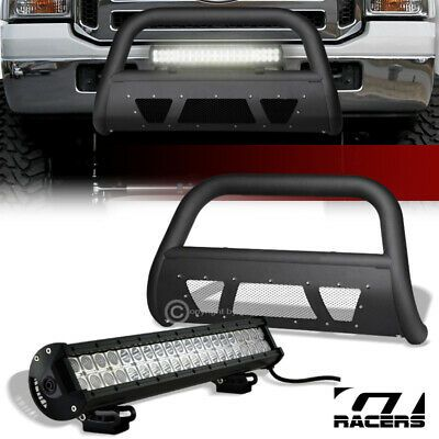 Details About For 05 07 Ford F250 F350 Matte Blk Studded Mesh Bull Bar 120w Cree Led Fog Light In 2020 Cree Led Led Fog Lights