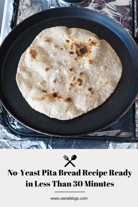 Delicious, quick and super easy pita bread recipe that doesn't require any yeast. Swipe to check out the recipe and visit the blog for more insight!