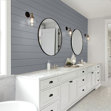 UFP-Edge 1 in. x 6 in. x 8 ft. Timeless Granite Gray Smooth Nickel Gap Pine Shiplap – The Home Depot – Modern Shiplap Bathroom Wall, White Shiplap Wall, Bathroom Accent Wall, Bathroom Accents, Grey Bathrooms, Bathroom Colors, Bathroom Interior, Small Bathroom, Round Bathroom Mirror