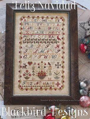 Christmas Sampler #2 Feliz Navidad Blackbird Designs Cross Stitch Pattern