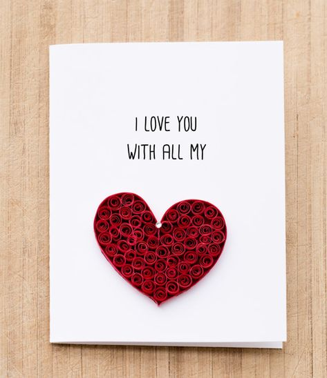 Greeting Card. I love you with all my heart. Quilled art to